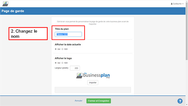 Import logo dans The Business Plan Shop - étape 2