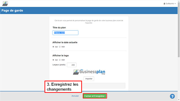 Import logo dans The Business Plan Shop - étape 3
